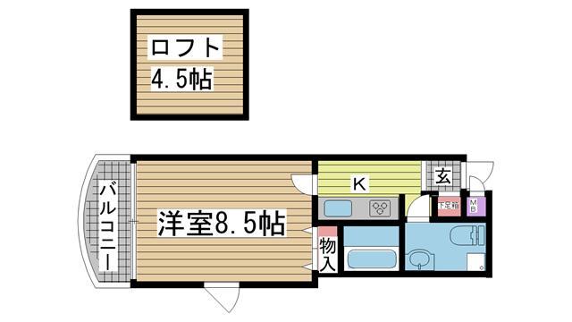 神戸市灘区篠原本町の賃貸物件間取画像