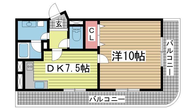 神戸市灘区水道筋の賃貸物件間取画像