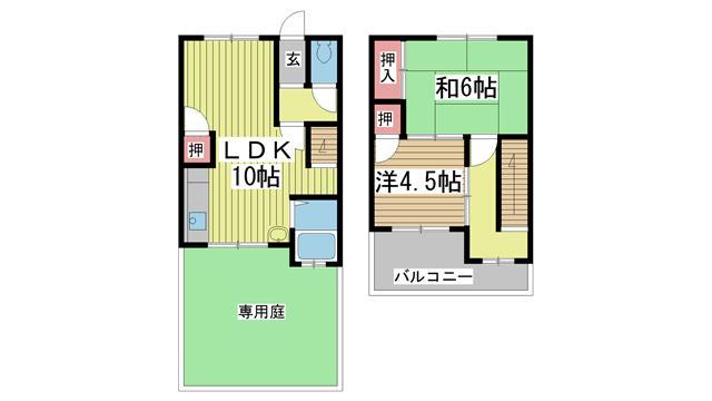 神戸市垂水区南多聞台の賃貸物件間取画像