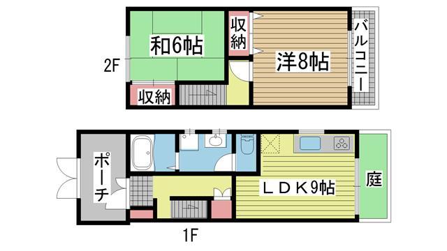 神戸市灘区岩屋北町の賃貸物件間取画像