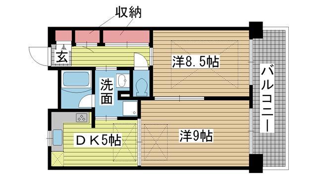 神戸市長田区北町の賃貸物件間取画像