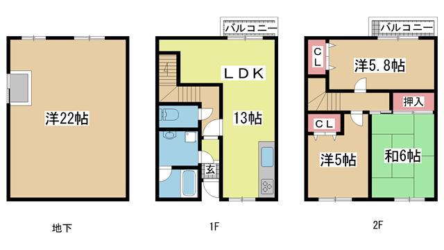 神戸市垂水区東垂水の賃貸物件間取画像