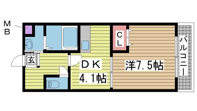 神戸市灘区高羽の賃貸物件間取画像