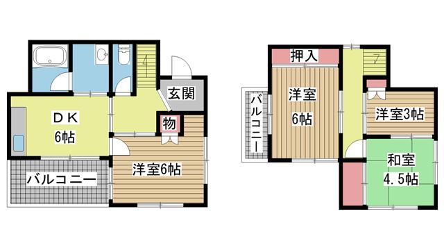 神戸市北区北五葉の賃貸物件間取画像