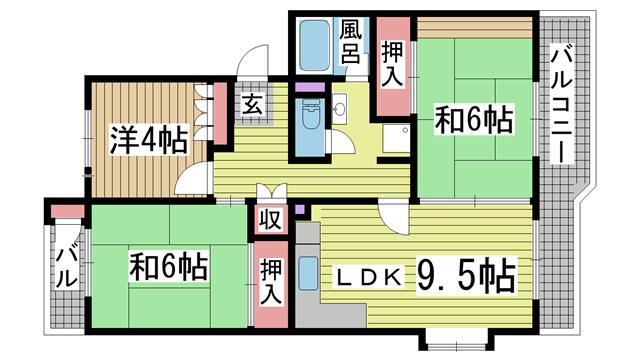神戸市須磨区東落合の賃貸物件間取画像