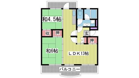 神戸市須磨区横尾の賃貸物件間取画像