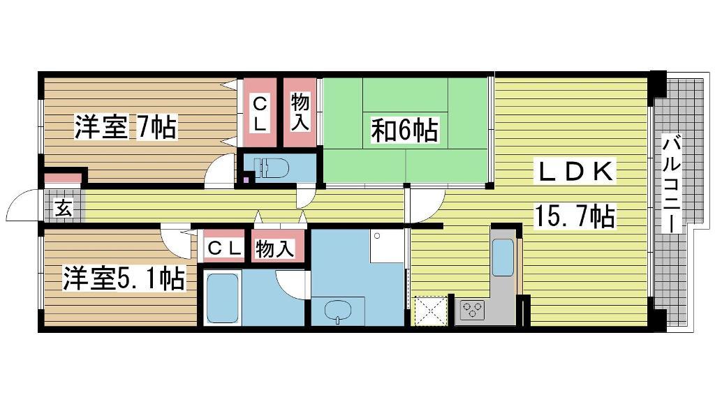 神戸市垂水区松風台の賃貸物件間取画像