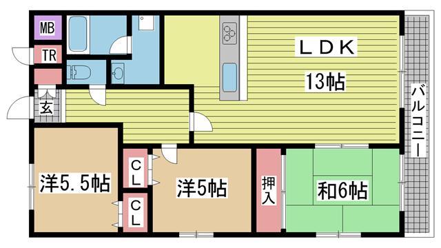 神戸市垂水区上高丸の賃貸物件間取画像