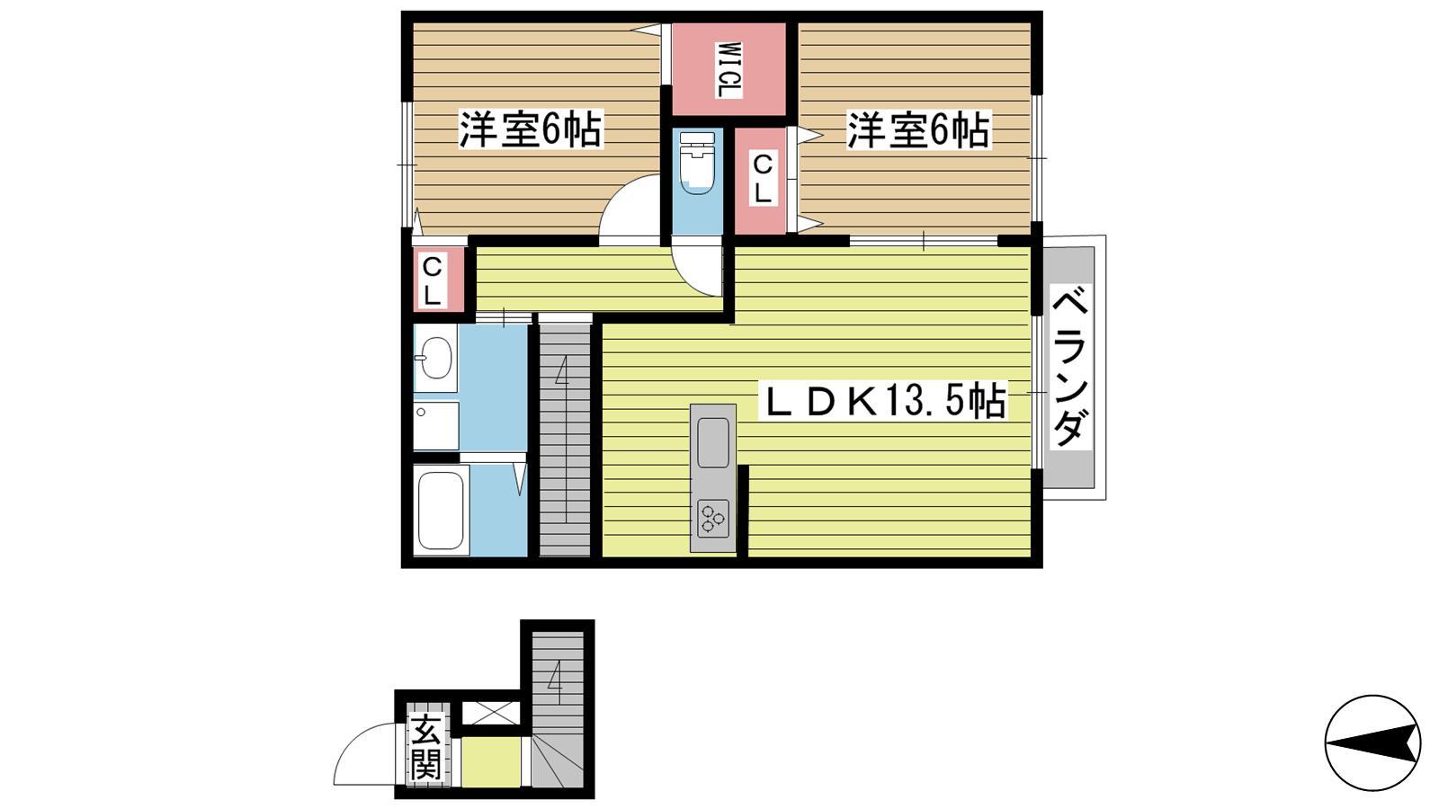 神戸市北区山田町下谷上の賃貸物件間取画像