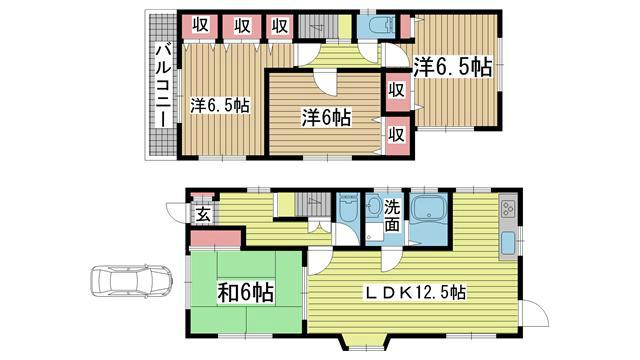 神戸市垂水区神陵台の賃貸物件間取画像