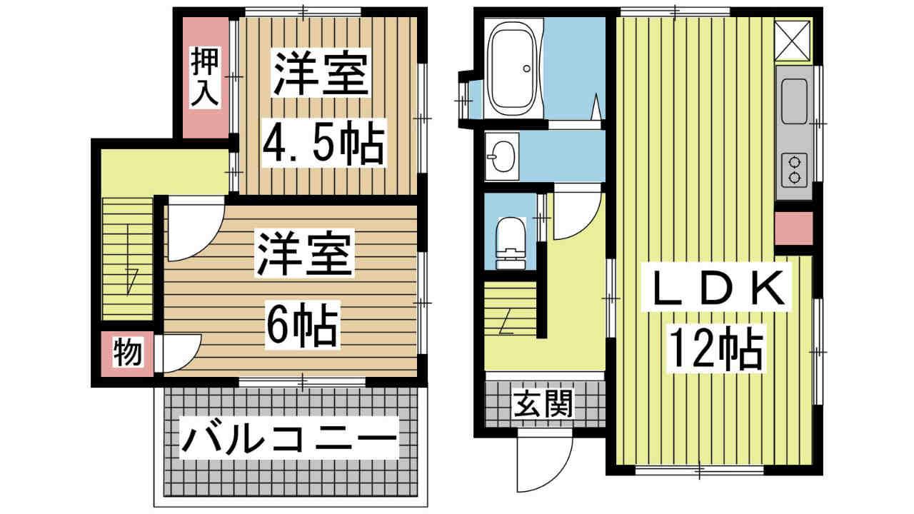 神戸市垂水区千鳥が丘の賃貸物件間取画像