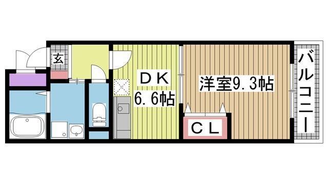 神戸市灘区赤坂通の賃貸物件間取画像