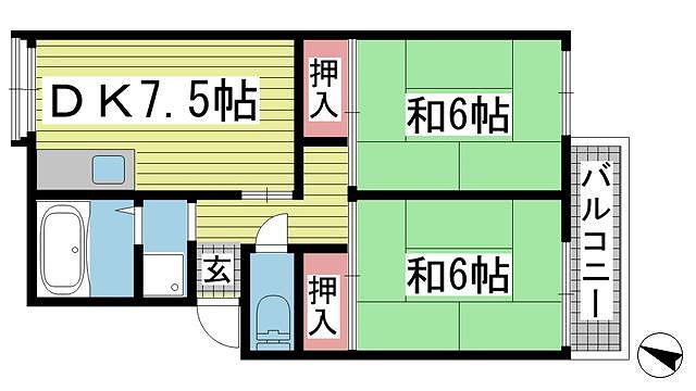 神戸市北区鈴蘭台北町の賃貸物件間取画像
