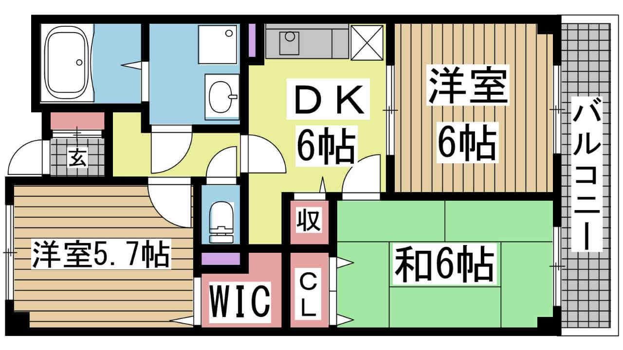 神戸市北区有野町二郎の賃貸物件間取画像