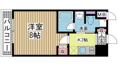 神戸市兵庫区駅前通の賃貸物件間取画像