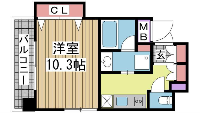 神戸市兵庫区西橘通の賃貸物件間取画像