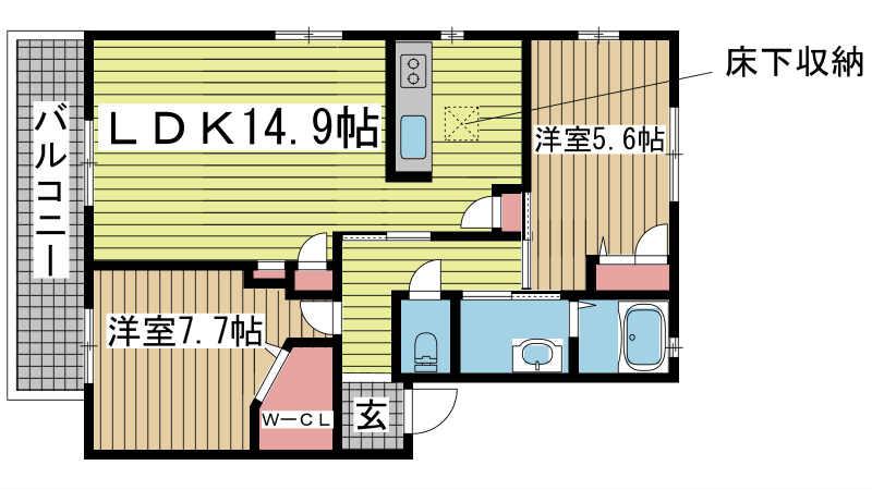神戸市北区藤原台南町の賃貸物件間取画像