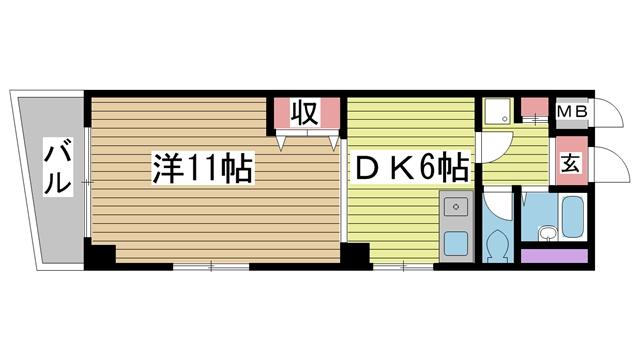 神戸市中央区熊内町の賃貸物件間取画像