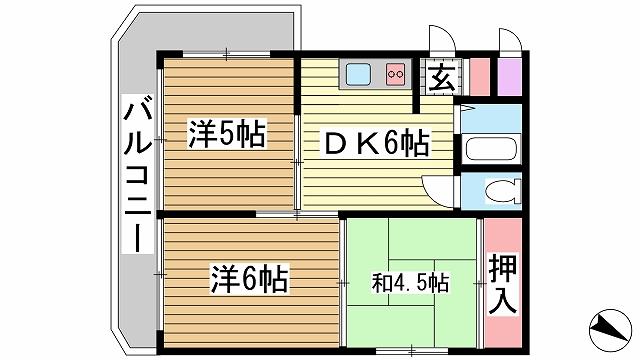 神戸市灘区弓木町の賃貸物件間取画像