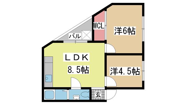 神戸市中央区山本通の賃貸物件間取画像