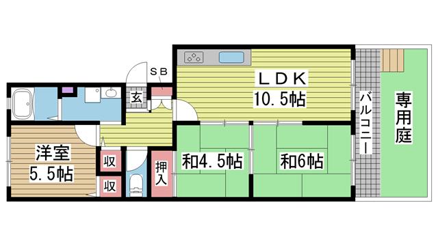 神戸市東灘区岡本の賃貸物件間取画像