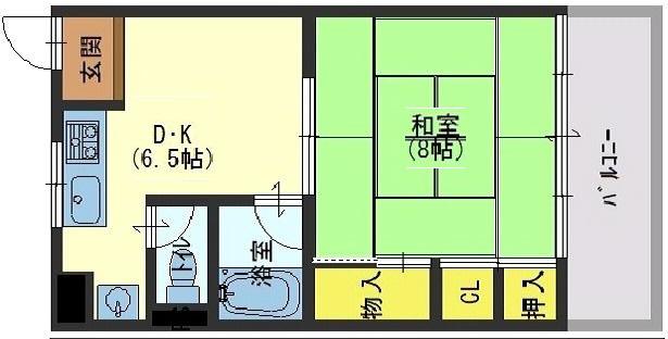 神戸市中央区国香通の賃貸物件間取画像
